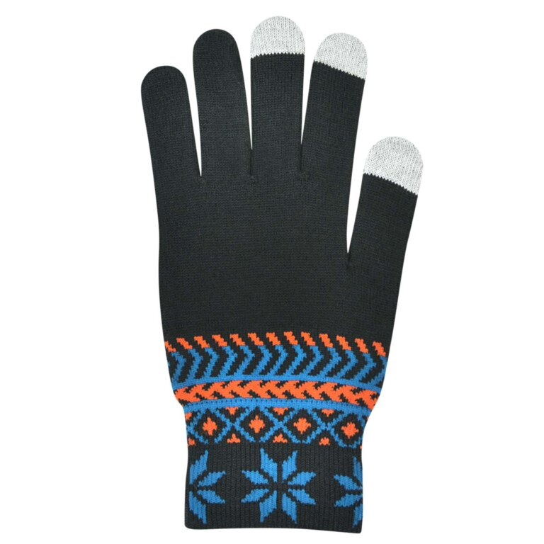 Black Pattern Touch Screen Gloves