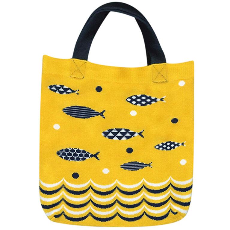 Fish Knitting Tote Bag