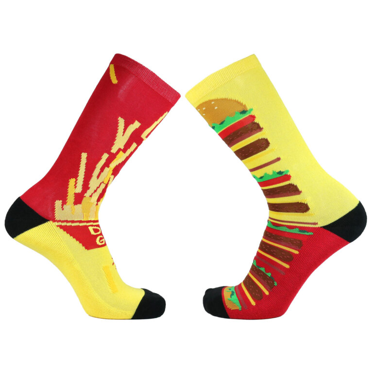 Fashion Cotton Crew Terry Sock with Hamburger and Fries