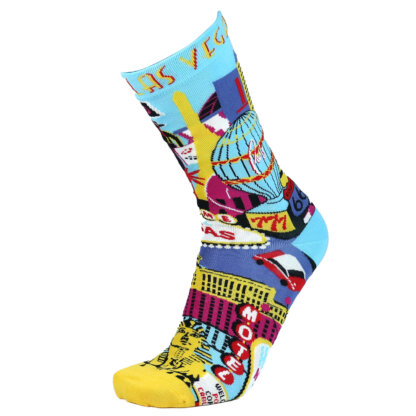 Fashion Cotton Crew Flat Sock with City Las Vegas