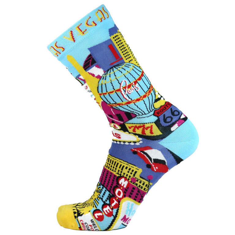 Fashion Cotton Crew Flat Sock with City Las Vegas