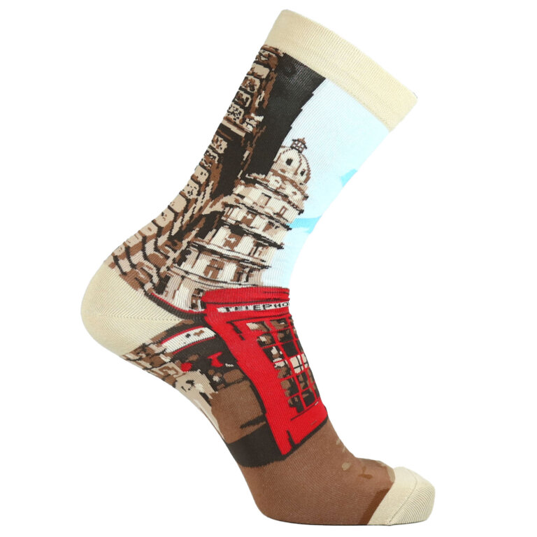 Fashion Cotton Crew Flat Sock with City London