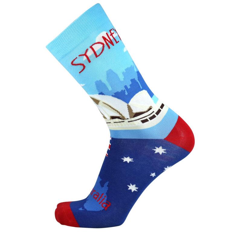 Fashion Cotton Crew Flat Sock with City Sydney