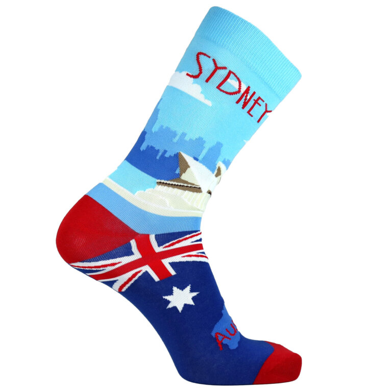 Fashion Cotton Crew Flat Sock with City Sydney