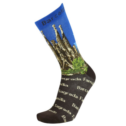 Fashion Cotton Crew Flat Sock with City Barcelona