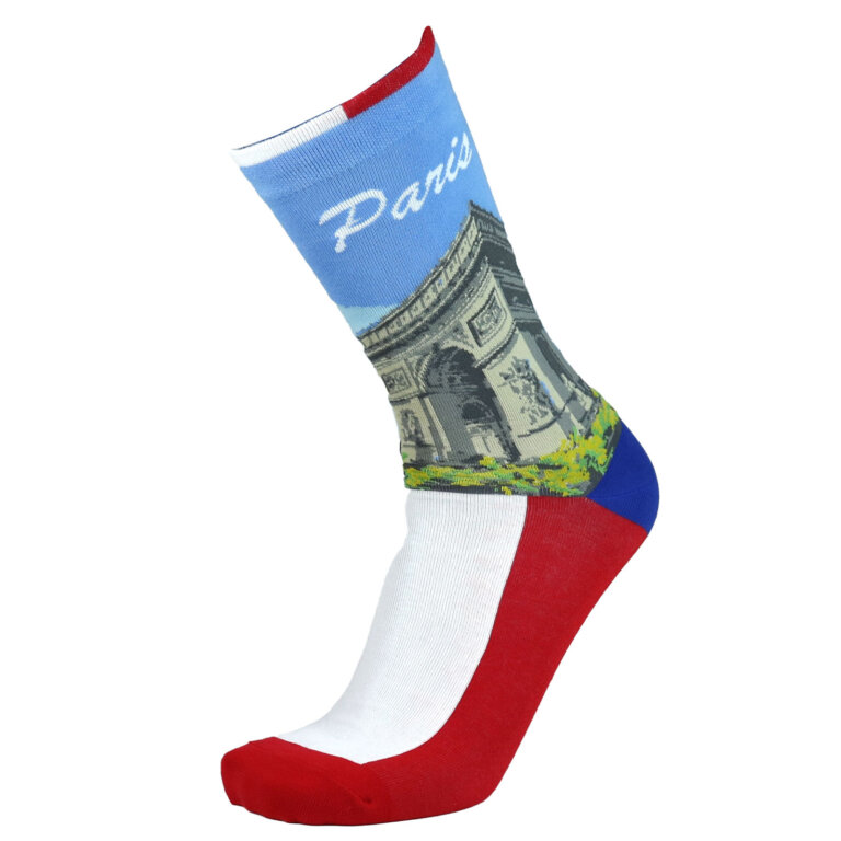 Fashion Cotton Crew Flat Sock with City Paris